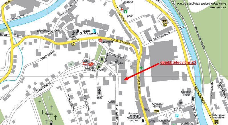 Výřez mapy Úpice se znázorněním umístění klubovny